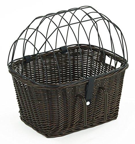 Tigana - Fahrradkorb aus Weide mit Gitter und Kissen für Lenker Braun (Lenker 45 x 33 cm - (B-S))