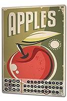 カレンダー Perpetual Calendar Retro Apples Tin Metal Magnetic