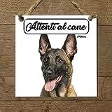 malinois pastore belga mod 2 attenti al cane targa piastrella cartello ceramic tiles