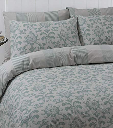 Linen Zone 100% Cotton Reversible Printed Duvet Cover Set, King - Istambul Green