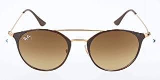 RAY-BAN RB3546 Round Metal Sunglasses, Brown On Gold/Brown Gradient, 52 mm