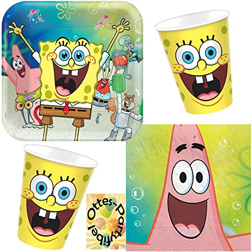 HHO Spongebob-Party-Set 32tlg. für 8 Gäste Teller Becher Servietten