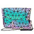Holographic Geometric Tote Handbag Purse for Women girl Luminous Backpack Purse and tote bag set Crossybody Lady Purse (Crossbody bag+Handpurse)