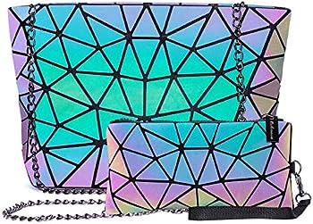 Harlermoon Holographic Geometric Tote Handbag Purse