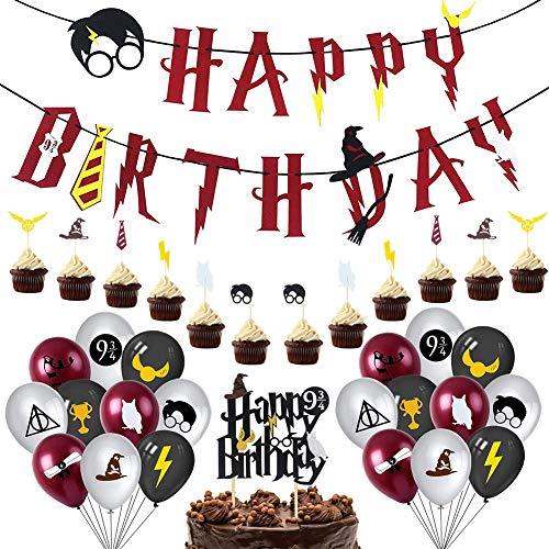 Babioms Artículos de Fiesta para Cartoon, Cumpleaños Decoracion de Fiesta Mago Estandarte de Cumpleaños globo Cupcake Toppers, Mago Cumpleaños Fiesta Decoracion Temática