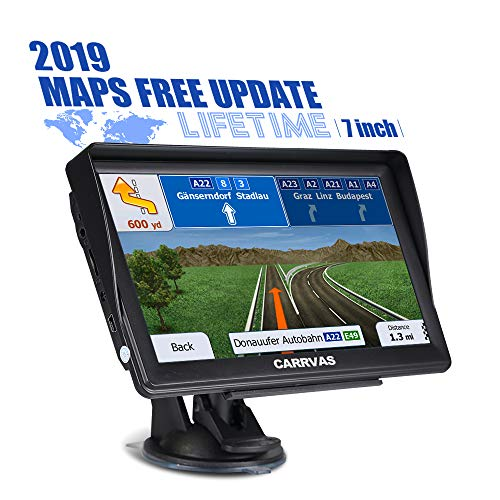 CARRVAS 7 Inch GPS Navigation for Car and Truck 2019 Version Americas Map & Voice Reported Highway Speed Camera & Poi Lane Assist, Supported Post Code, Favorites & Address Search