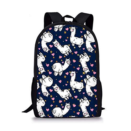 Nopersonality Schulrucksack für Mädchen Schulrucksack Süß Alpaka Druck Rucksack Jugendlichen Schüler Schultasche Outdoor Daypack (blau)