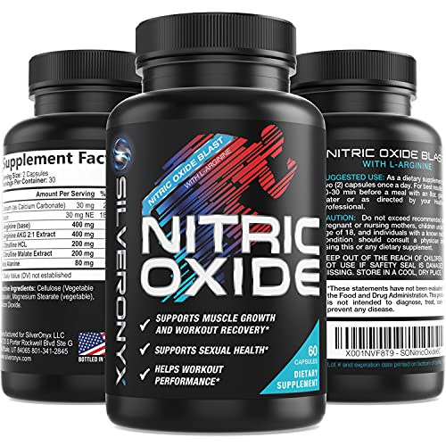 Extra Strength Nitric Oxide Supplement L Arginine 1300mg - Citrulline Malate, AAKG, Beta Alanine - Premium Muscle Building Nitric Booster for Strength & Energy to Train Harder - 60 Capsules