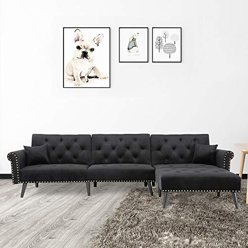 """Knowlife Sectional Convertible Fution Sofa Bed, Mid-Century Velvet Sleeper Sofa with Reversible Chaise and 2 Pillows, 115""""L Sofa Couch for Living Room and Small Space (Black)"""