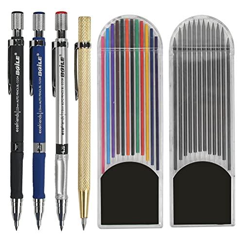 Lápices de carpintero y 3 lápices mecánicos de 2,0 mm con 24 recambios de marcador, líneas de dibujo para metal/vidrio/azulejos de corte, etc.