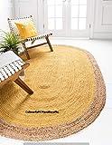 Tappeto ovale in tessuto di iuta, per camera da letto, 3 x 5 cm, realizzato a mano, in stile hippie, tessuto a mano, per picnic, tappeto fatto a mano