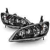 ACANII - For 2004-2005 Honda Civic 2/4 Door Headlights JDM Black Headlamps Set Replacement Driver & Passenger Side