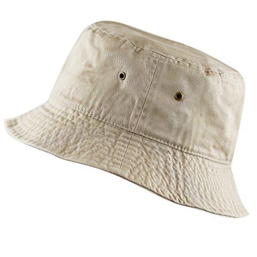 The Hat Depot 300N Unisex 100% Cotton Packable Summer Travel Bucket Hat (S/M, Khaki)