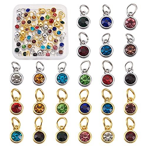 Craftdady 48 colgantes de cristal con piedra natal de oro y platino, pendientes de diamantes de imitación con anillo para hacer joyas, 12 colores