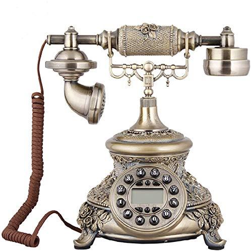 VERDELZ Teléfono Fijo Fijo Teléfono con Cable Teléfono Antiguo De Bronce para El Hogar Y La Oficina Teléfonos Fijos Decorativos para Regalo Teléfono Clásico Antiguo