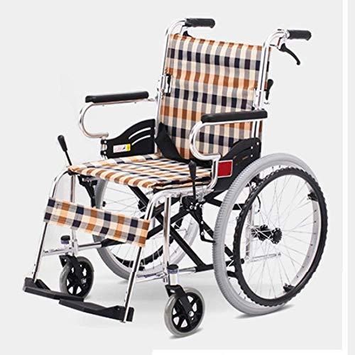 Yhtech Silla de rehabilitación médica, silla de ruedas, silla de ruedas plegable de peso ligero de conducción médica, Viejo sillas de ruedas Old Age Walker Luz plegable portátil ultra luz del coche si