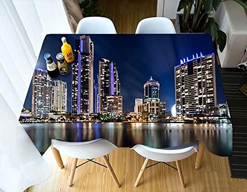 XXDD Mantel con Vista Nocturna de la Ciudad 3D patrón Mantel Decorativo Hotel Restaurante Cubierta de Mesa Impermeable A9 140x200cm