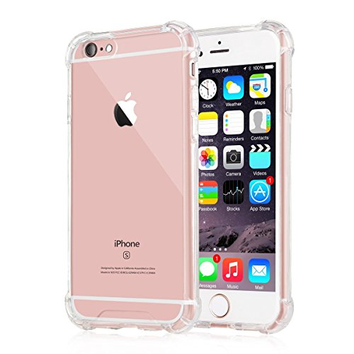 iXCC [Crystal Clear] iPhone 6 6s Case, New Cover Case [Shock Absorption] with Transparent Hard Plastic Back Plate and Soft TPU Gel Bumper - Clear