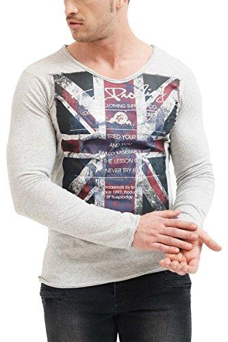 trueprodigy Casual Marca Camiseta Manga Larga para Hombre con impresión Estampada Ropa Retro Vintage Rock Vestir Moda Cuello v Slim fit Designer Fashion Shirt, Colores:Graumelange, Tamaño:XL