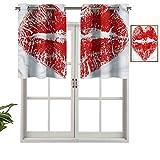 Hiiiman Cenefas opacas para cortina con forma de corazón antiUV, set de 1, 127 x 45,7 cm para interior, comedor, dormitorio