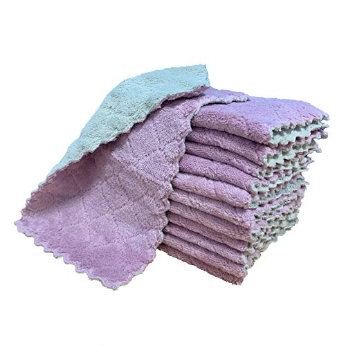kimteny 12 Pack Kitchen Cloth Dish Towels, Premium Dishcloths, Super Absorbent Coral Velvet Dishtowels, Nonstick Oil Washable Fast Drying (Purple-Grey)
