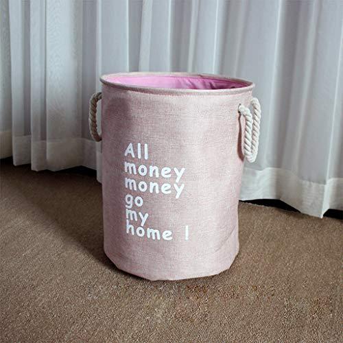 ZPWSNH Cesta de almacenamiento de ropa sucia para el hogar, simple, nórdica, plegable, juguetes gruesos de lino, tela, Large