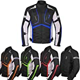 Motorcycle Jacket For Men Textile Motorbike Dualsport Enduro Motocross Racing Biker Riding CE Armored Waterproof All-Weather (Blue, Large)