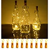 SODELIC Cork Lights for Wine Bottles 10 Pack 6.5ft 20 LEDs Waterproof Battery Operated Silver Wire String Lights for Liquor Bottles Crafts Party Halloween Christmas Bar Decoration, Warm White …