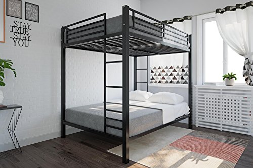 DHP Full over Full Bunk Bed for Kids, Metal Frame with Ladder (Black)
