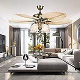 LuxureFan 52Inch Palm Ceiling Fan Lights 3 Speed Remote Premium Light Fixtures 5 Lights 5 Palm Blades Tropical Ceiling Fan Decorations for Living Room Chandelier Fan