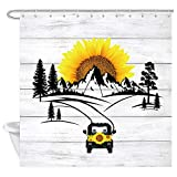 DYNH Duschvorhang mit Sonnenblume, Sonne, Berg auf rustikaler Holzplatte, mit 12 Haken 69