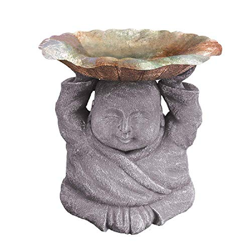 Grasslands Road Happy Buddha Bird Bath - Outdoor Garden Yard Décor, Resin,12 1/4 by 12 1/4 Inches