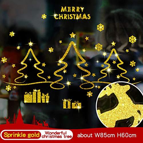 MSIKU Muursticker Goud Kerstmis Muursticker Voor Kinderen Kamer Raam Showcase Verwijderbare Sneeuwman Thuis Decor Sticker Lijm Pvc Nieuwjaar