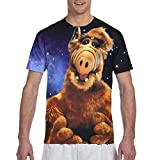 Alf Cartoon Shirt Mens Fashion T Shirt Short Sleeve Classic Black Crew Neck Comft Sport Casual Funny 3D Printed Round Neck Tee Shirts for Adults Cosplay 3X-Large