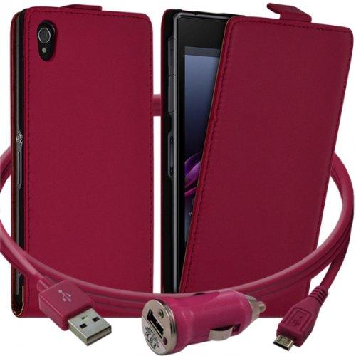 Seluxion–Carcasa con tapa para Sony Xperia Z1color rosa + Cargador de coche Auto