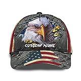 Mens Womens Personalized Custom Text Patriotic Hat - American Flag Bald Eagle Cap