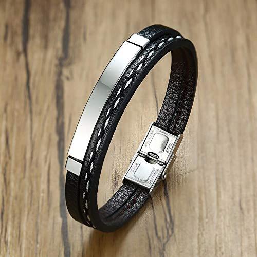 aolongwl Pulsera de múltiples capas de cuero pulseras para hombres y mujeres grabado personalizable acero inoxidable casual personalizado brazalete