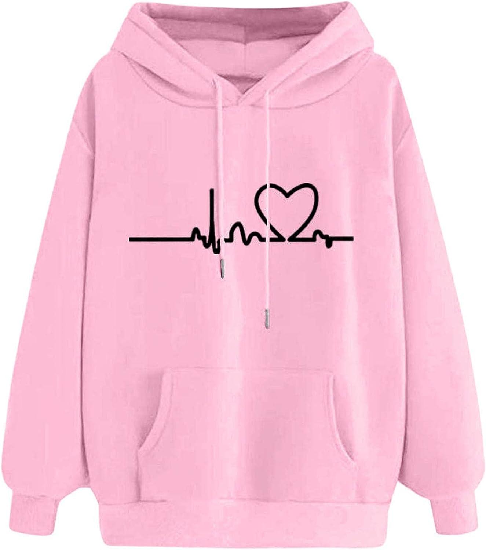 Hoodies Women Cute,Hoodies for Women Pullover Long Sleeve Vintage Hooded Sweatshirts Teen Girls Casual Loose