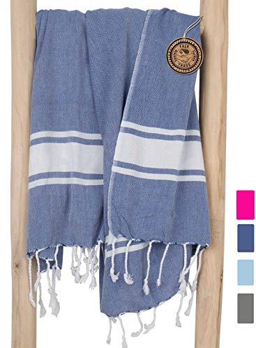 ZusenZomer Hamamtuch XXL SOL 100x200 - Pestemal Hammam Badetuch Strandtuch Groß 100% Baumwolle Handgewebt Oeko-TEX - Hochwertige Fair Trade Hamamtücher (Blau)