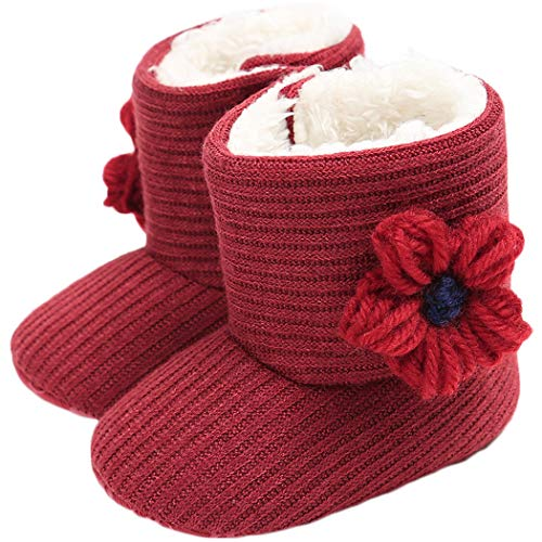 Tcesud Newborn Baby Girls Cotton Soft Sole Winter Warm Snow Boots Infant Toddler Mid Calf Snow Boots for Baby Girls 0-18 Months(6-12 Months,Red)