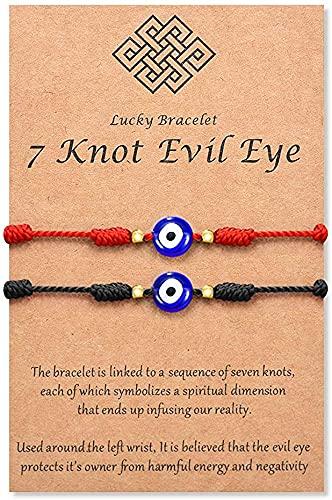 LLGLTEC (Ver.3 Evil Eye 7 Knot Lucky Pulseras ajustable rojo amuleto de cuerda para mujeres, hombres, niños y niñas, Tela,