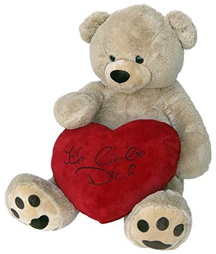 Wagner 9087 - Riesen XXL Teddybär 160 cm groß in hell-braun mit Ich Liebe Dich-Plüschherz (60 cm) - Plüschbär Kuschelbär Teddy Bär in beige 1,60 m