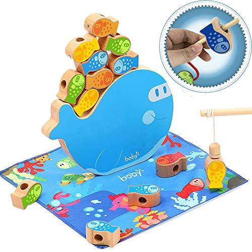 CORPER TOYS 木製パズル 4IN1 木製おもちゃ ひもとおし 紐通しおもちゃ お釣り 魚遊び バランスゲーム パズル かわいい 魚おもちゃ ひもとおしおもちゃ マグネット式 釣りゲーム 男の子 女の子 カラフル クリスマス おもちゃ