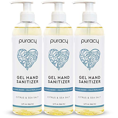 Puracy Hand Sanitizer Gel Set for Home and Office, Natural Citrus & Sea Salt 70% Alcohol Skin Softening Non-Drying Formula, 12 Fl Oz (3-Pack)
