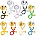 OIIKI 9PCS Stethoscope Brooch Pins, Doctor Nurse Stethoscope Enamel Lapel Pin, Medical Assistant Gifts, Cartoon Jewelry Gift for Girl, Medical Students Clothing Bags