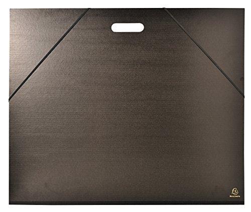 Exacompta - Réf. 548900E - Carton à dessin kraft noir vernis avec élastiques et poignée 59x72 cm - Pour format raisin