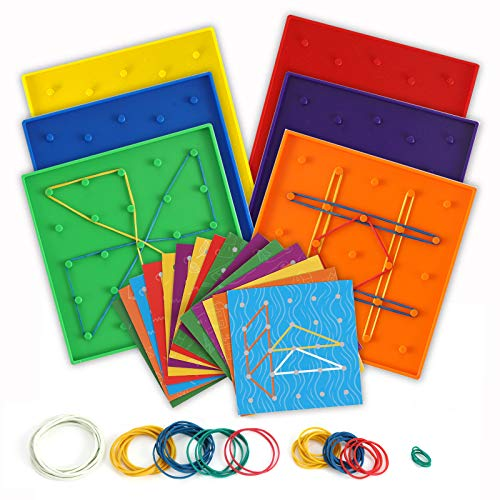 Double-Sided Geoboard - Mathematical Manipulative Material Geo Board, Graphical Educational Toy for Geometry and Creativity- 5 x 5 Grid/12 Pin Circular Array, 15 Cards with 30 Design, and Rubber Bands