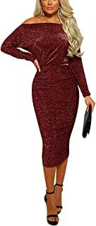 Women Semi Formal Dresses -Off The Shoulder Diamond Lady Ruched Bodycon Midi Evening Party Dress
