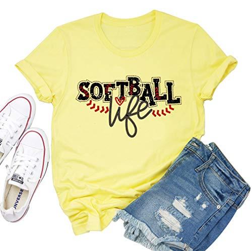 Softball Life Shirt for Women Cute Graphic Softball Mom Life Tshirt Short Sleeve Fashion O Neck Tee Shirts Top (XX-Large, Yellow)