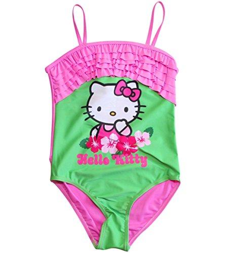 Hello Kitty Badeanzug Kollektion 2018 Badesachen 92 98 104 110 116 122 128 Mädchen Schwimmbekleidung Sommer (Rosa-Grün, 116-122)